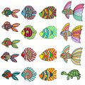 Colorful cute cartoon doodle fish set. Hand drawn thin line tropical aquarium fish and turtle icon collection isolated on white Royalty Free Stock Photo