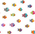 Fish shoal bright cartoon seamless pattern childish vector eps use any background color Royalty Free Stock Photos