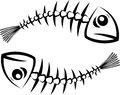 Fish silhouette two black skeleton on white background eps Royalty Free Stock Images