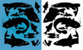 Fish silhouettes Royalty Free Stock Photography
