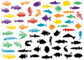 Fish silhouettes illustration set. Royalty Free Stock Photo