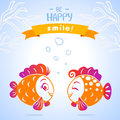 Fish smile illustration silhouette cute Royalty Free Stock Image