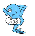 Fish sos isolated illustration cartoon Stock Photos