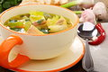 Fish soup with vegetables in a bowl. Royalty Free Stock Photography