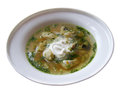 Fish soup in a white plate with sour cream Stock Image