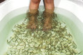 Fish spa feet Stock Photo