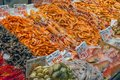 Fish, squid and crustaceans for sale Royalty Free Stock Photo