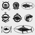 Fish stamps and labels set vector illustration Royalty Free Stock Photo