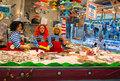 Fish stand at Santa Caterina market during carnival Royalty Free Stock Photo