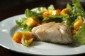 Fish Steak with Ripe Mango Salad Royalty Free Stock Photo