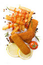 Fish sticks with french fries Stock Photos