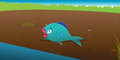 Fish stranded on land cartoon vector illustration of a Royalty Free Stock Photos