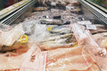 Fish at the supermarket wide variety of prepackaged frozen a aisle Stock Photography