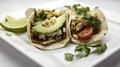Fish tacos grilled using flour tortillas Stock Images