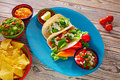 Fish tacos mexican food guacamole nachos and chili Royalty Free Stock Photo