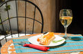 Fish tapa spanish appetizer in a restaurant in summer Stock Photography