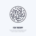 Fish therapy vector line icon. Spa peeling service flat logo. Natural skin treatment