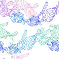 Fish want to fly seamless pattern with flying in col colors Stock Image