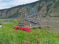 Fish Wheel on the Yukon river Stock Image