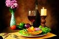 Image : Fish and wine still life fruit