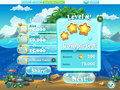 Fish world example of window level completion for a computer g game in cartoon style Stock Photo