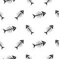 Fishbone monochrome seamless vector pattern.