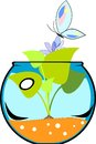 Fishbowl with flower Royalty Free Stock Photography