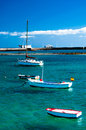 Fisher boats in laguna charco de san gines arrecife at the city of lanzarote canary islands Royalty Free Stock Photography