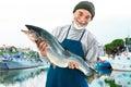 Fisher holding a big atlantic salmon fish in the fishing harbor Stock Photos
