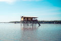 Fisher house in the sea at thailand Royalty Free Stock Images