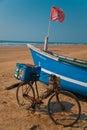 Fisher men boat at goa beach name arambol Stock Images