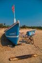 Fisher men boat at goa beach name arambol Royalty Free Stock Photography