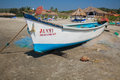 Fisher men boat at goa beach name morjim Royalty Free Stock Images