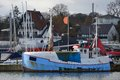 Fisher trawler nordic fishing staying in the harbour Stock Images