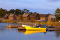 Fisherboats on gotland a beautiful evening late summer Royalty Free Stock Photography