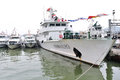 Fisheries administration ship in zhuhai seaside the photo was taken as Stock Photography