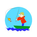Fisherman on boat. Successful fishing. Vector cute cartoon. Royalty Free Stock Photo