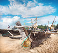 Fisherman boats on the beach gokarna in karnataka india Stock Images