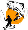 Fisherman catching trout Royalty Free Stock Images