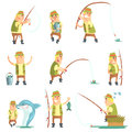 Fisherman In Different Funny Situations Set Of Illustrations Royalty Free Stock Photo