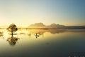 Fisherman fishing in big lake Royalty Free Stock Photo