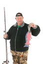 Fisherman with fishing rod and strange fishes Royalty Free Stock Photo