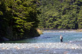 Fisherman fly fishing in fiordland nz jan eglinton river on jan nz has a world renowned wild trout fishery and area Royalty Free Stock Photos