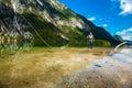 Fisherman fly fishing at lake Bohinj Royalty Free Stock Photo