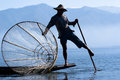 Fisherman on Inle Lake Stock Images