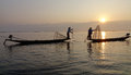 Fisherman of Inle Lake in action when fishing Royalty Free Stock Photo