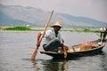 A fisherman on Inle Lake. Royalty Free Stock Photo