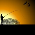 A fisherman on the lake with fishing rod fishing Royalty Free Stock Images