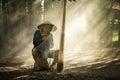Fisherman of mekong river thai and laos. Royalty Free Stock Photo