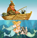 Fisherman and mermaids fell asleep in a boat while smiling on him underwater Stock Photos